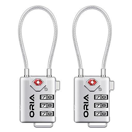 oria tsa luggage locks (2 pack), 3-digit combination padlocks number code