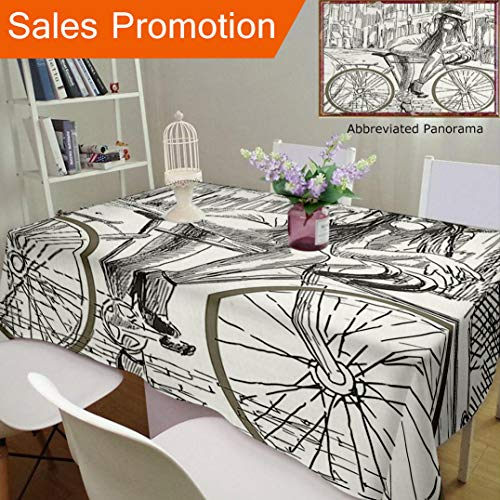 Unique Design Cotton And Linen Blend Tablecloth Bicycle Decor Sexy Outrageous Young Lady Chewing Gum On Her Bike In The Street Sketchy IlluCustom Tablecovers For Rectangle Tables, Large Size 86