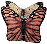 Manual Graceful Flight Butterfly Shaped Reversible Tapestry Throw Pillows TSHGFB 14x11'' Set/2 Multi