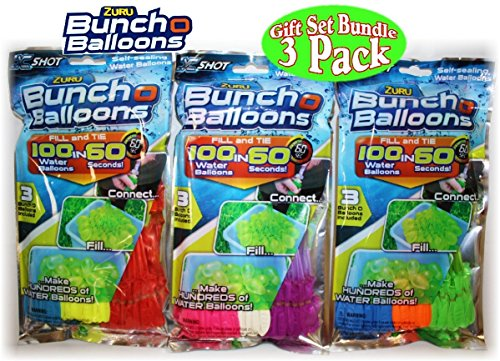 Zuru Bunch O Balloons Instant 100 Self-Sealing Water Balloons Complete Gift Set Bundle, 3 Piece (300 Balloons (Orange Water Balloons)