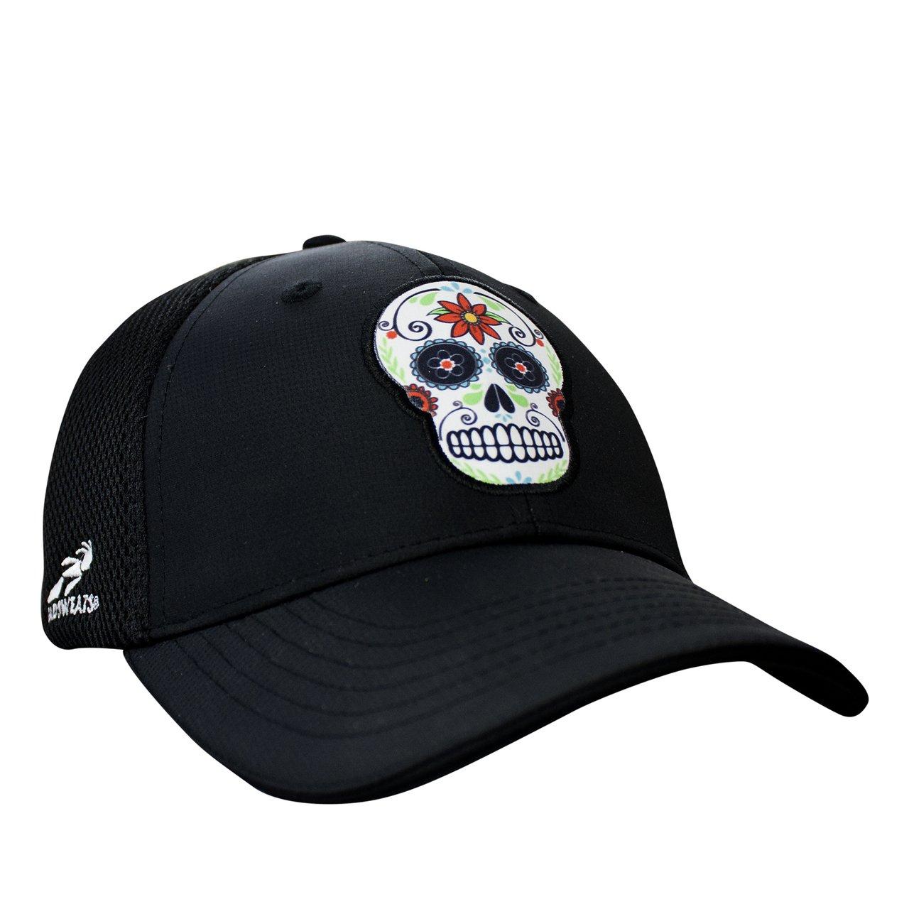 Sugar Skull Dark Ponytail Messy High Bun Hat Ponycaps Baseball Cap Adjustable Trucker Cap Mesh Cap