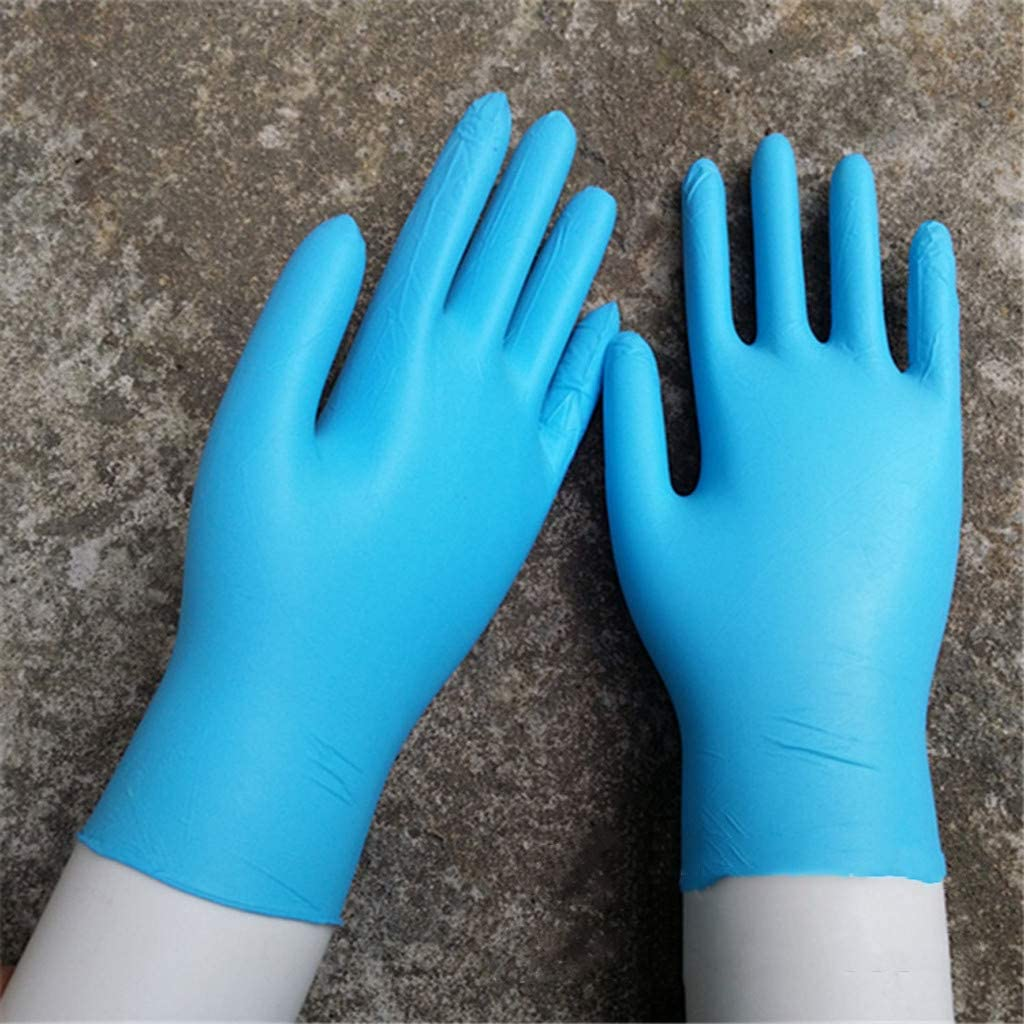 S-L Panfinggin 50 Pcs Disposable Gloves Blue Medical Gloves Latex Free Powder-Free Nitrile Exam Gloves Heavy Duty