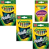 Crayola Metallic FX Crayons (3-Pack of 16) Bundle with Box of Neon Crayons
