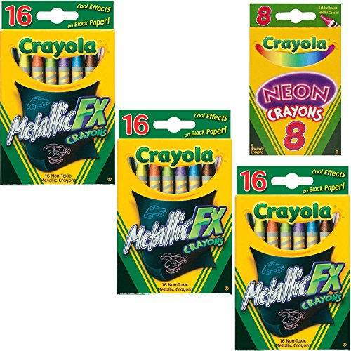 Crayola Metallic FX Crayons (3-Pack of 16) Bundle with Box of Neon Crayons by Crayola
