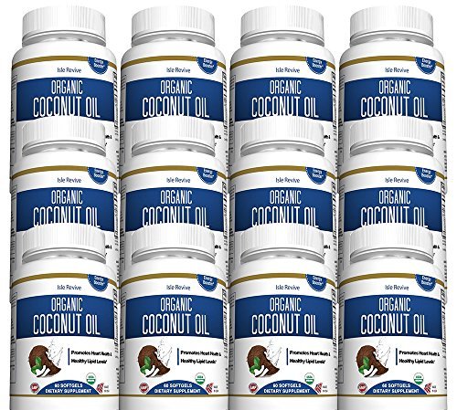 Coconut Oil Organic Capsules - 1000mg Extra Virgin Softgels - Promotes Hair Growth Skin Care Helps Acne - Supports Metabolic Energy Weight Loss - 12 Bottles - Made in USA and 3rd Party Lab Certified by Isle Revive