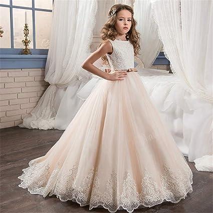 Traje de cosplay princesa Vestido de boda para niños Chicas de encaje Flor de flor caliente