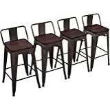 "Yongchuang Metal Barstools Industrial Counter Height Bar Stools Set of 4 (26"" Wood Top Low Back, Gunmetal)"