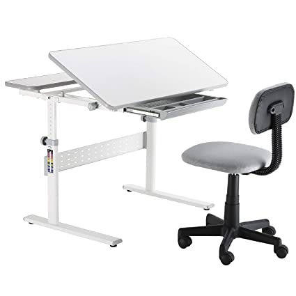Amazing Mecor Kids Desk And Chair Set Children Wood Work Station Large Student Sturdy Table With Mesh Mid Back Desk Chair Grey Gmtry Best Dining Table And Chair Ideas Images Gmtryco