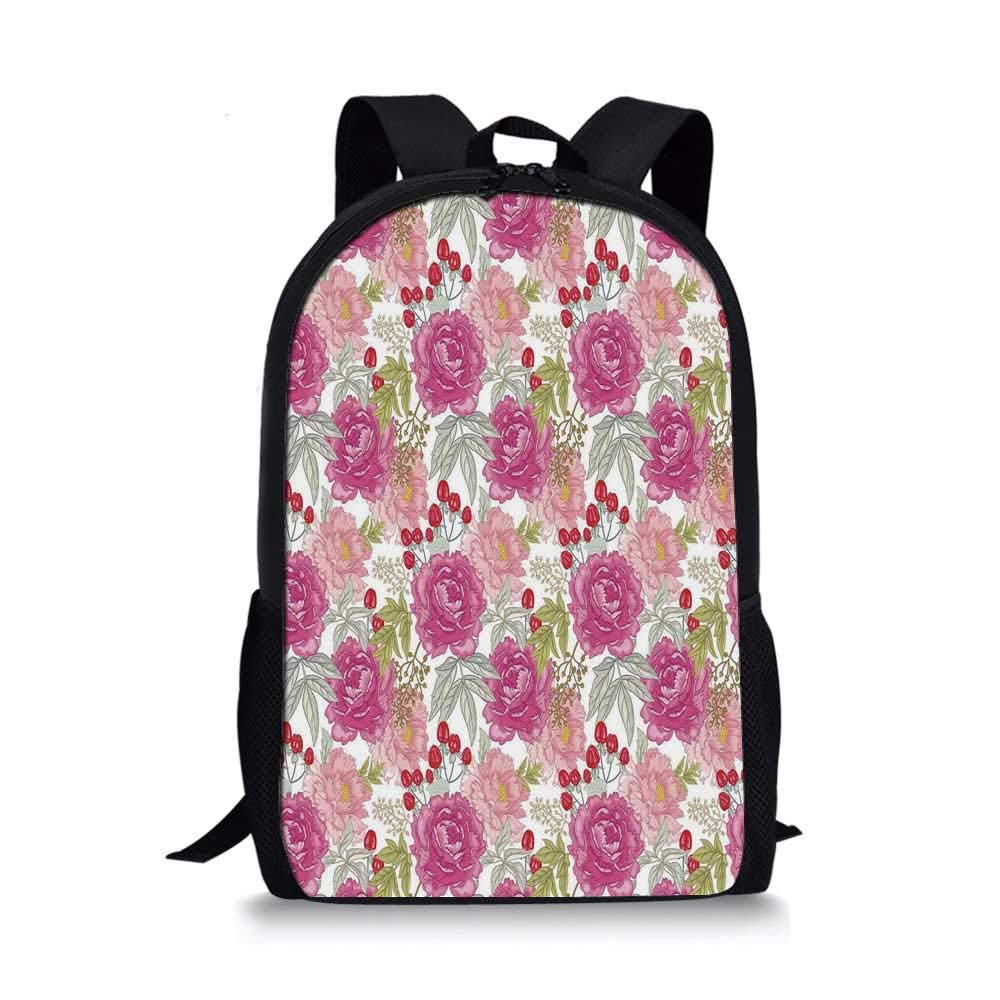 Floral Stylish School Bag,Garden Flower Botany with Peony Rose Grass Harvest Illustration for Boys,11''L x 5''W x 17''H by C COABALLA