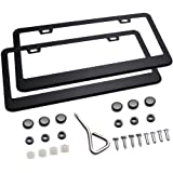 Ohuhu Matte Aluminum License Plate Frame with Chrome Screw Caps, 2Pcs 2 Holes Black Licenses Plates Frames, Car Licenses Plate Covers Holders For US Vehicles