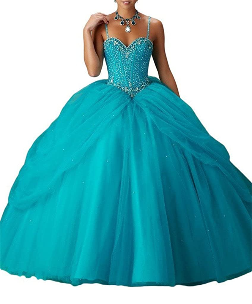 Turquoise Yang Women's Spaghetti Sweetheart Girls Beaded Ball Gowns Floor Length Quinceanera Dresses