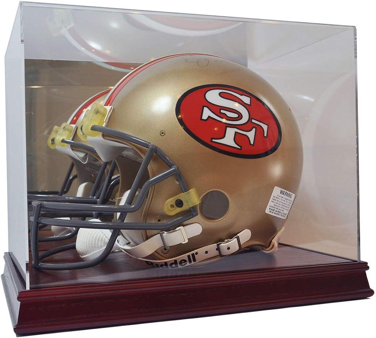 Image of Deluxe Acrylic Wood Base Football Helmet Display Case Display Cases