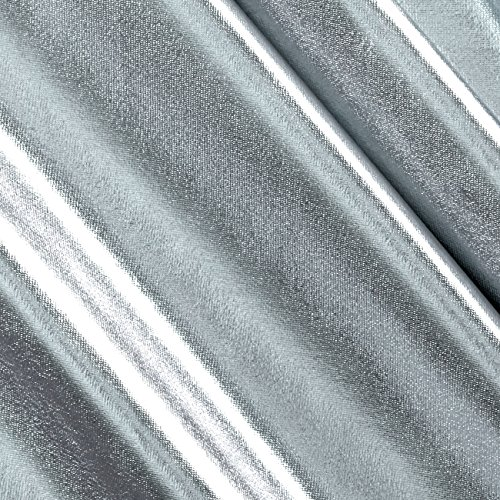 Ben Textiles Foil Lame Knit Spandex Silver Fabric by The Yard, Silver