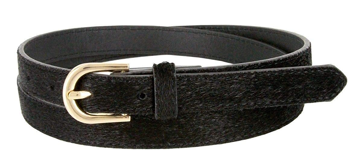 Womens Skinny Thin Genuine Leather Hair-On Belt 3//4 Wide Black Brown Tan BSC