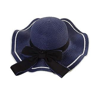 Yesmile Sombrero Sombrero de Playa Paja de Playa para Mujer Sombrero de Panamá Sombrilla de Sol Sombrero Trilby Fedora Casquillo del gángster