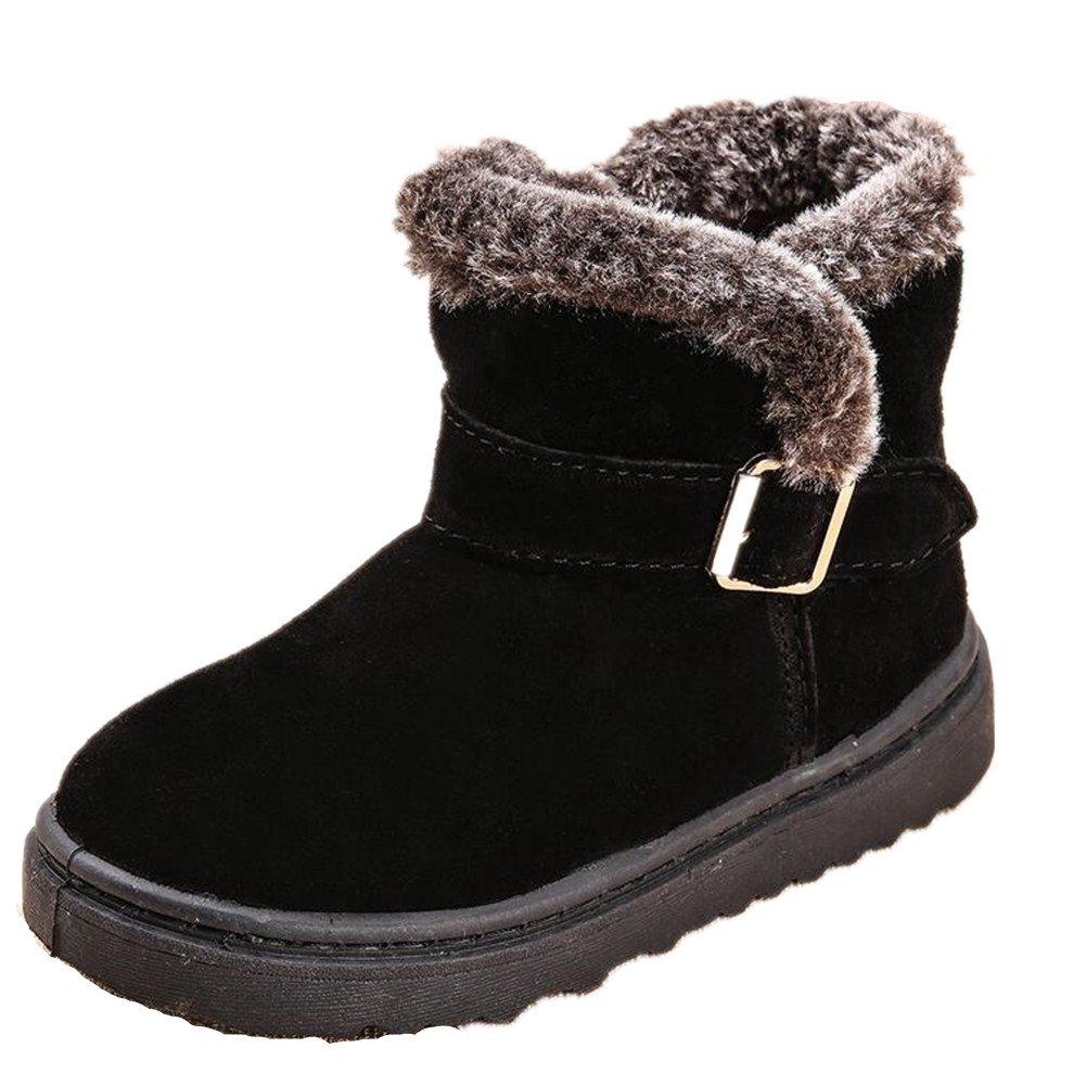 Bumud Girls Boys Warm Winter Flat Shoes Casual Faux Fur Ankle High Snow Boots (13 M US Little Kid, Black)
