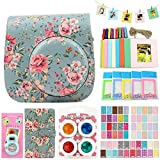 QUEEN3C Instax Mini 9 Case Accessories Kit Bundle for Fujifilm Instax Mini 9 or 8/8+,Include: Camera Case/Album/Color Filters/Selfie Lens/Photo Decor Stickers & More.(Rose blue)