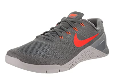 Men's Nike Metcon 3 Training Shoe Size 10 DARK GREY/HYPER CRIMSON-WOLF GREY