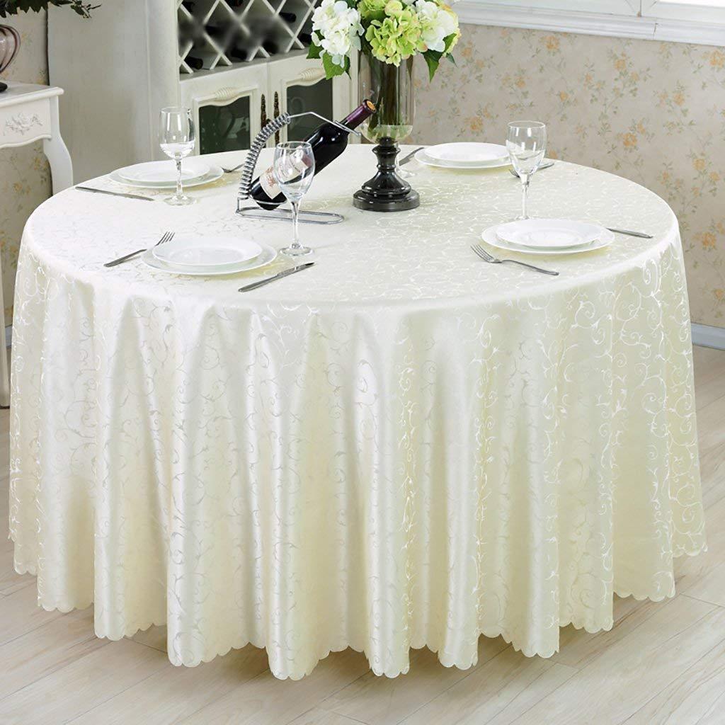 Lts テーブルクロス、ポリエステル、クリーミーホワイトジャガードラウンドテーブルクロスユニークなパーティーディナーテーブル、レストランに最適、カフェ、ホテル、ヨーロピアンスタイル (サイズ : Rond-200cm) Rond-200cm  B07RTTT4B6