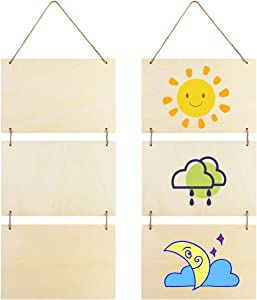 """Fireboomoon 2 Pack Large Unfinished Blank Wood Hanging Sign with Ropes,Decorative Natural Wooden Plaque Banners Slices for Home Decoration DIY Craft Door Sign Board(10.6"""" x 7"""" x 0.14"""")"""