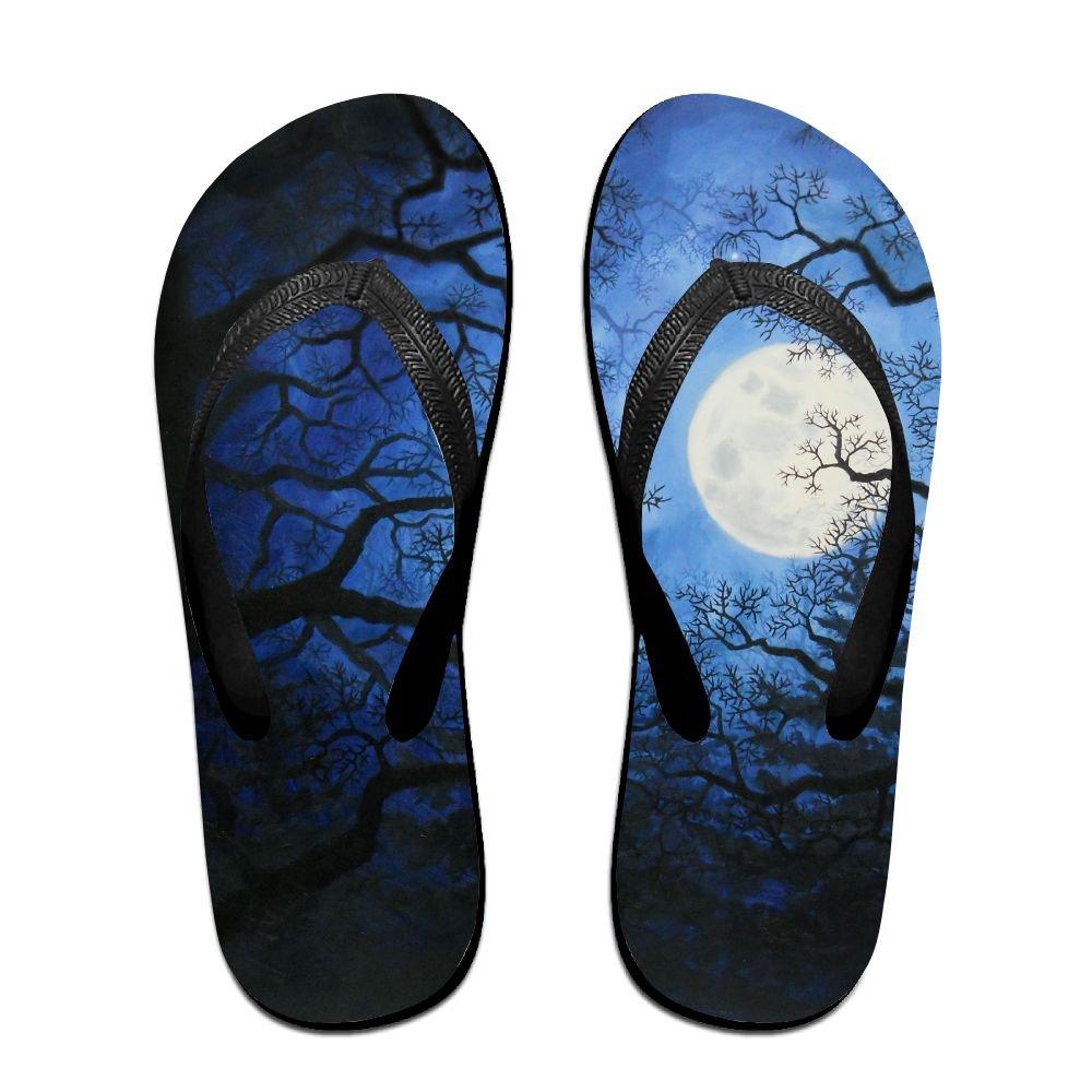 Unisex Forest Moon Summer Beach Herringbone Shoes Sandals Slipper Indoor & Outdoor Flip-flops