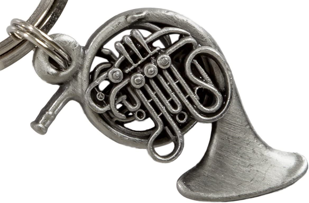 French Horn Key Chain Pewter