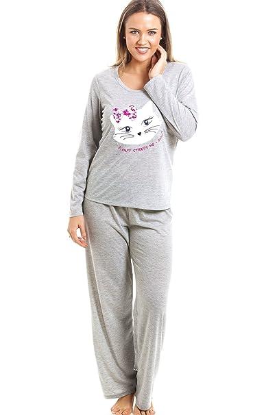 Camille Conjunto de Pijama Largo - Motivo Gato - Gris 38