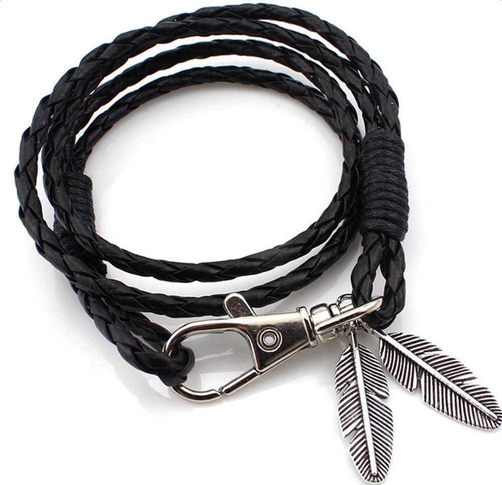 marron Taille M Cuir PU Gespout Mode Charm r/étro multicouche Splicing PU Bracelet en cuir pour homme Main Ornements V/êtements D/écorations de f/ête