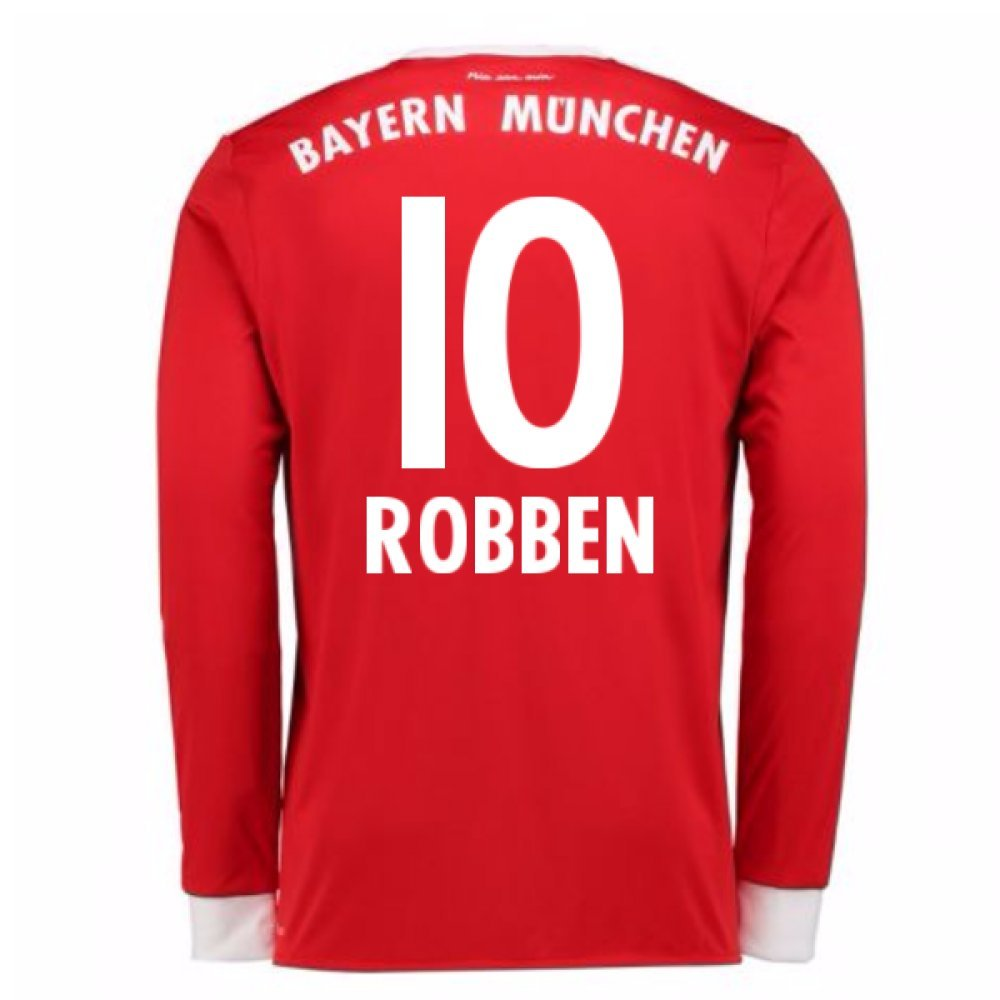 2017-18 Bayern Munich Home Long Sleeve Football Soccer T-Shirt Trikot (Arjen Robben 10)