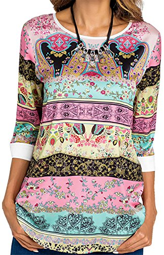 Arctic Cubic 3/4 Sleeve Curved Hem Floral Baroque Ethnic Tribal African Aztec Paisley T-Shirt Tee Blouse Shirt Top Pink Green 2XL