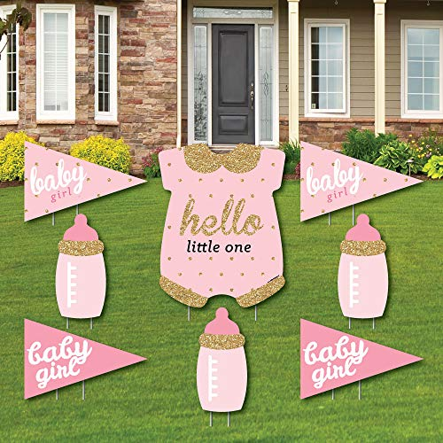 Hello Little One - Pink and Gold - Yard Sign & Outdoor Lawn Decorations - Girl Baby Shower Yard Signs - Set of -