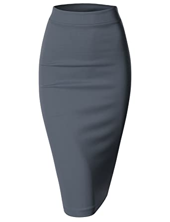aa7db04efe9 Doublju Elastic Waist Scuba Slim Fit Stretchy Pencil Midi Skirt (Plus Size  Available) Navy