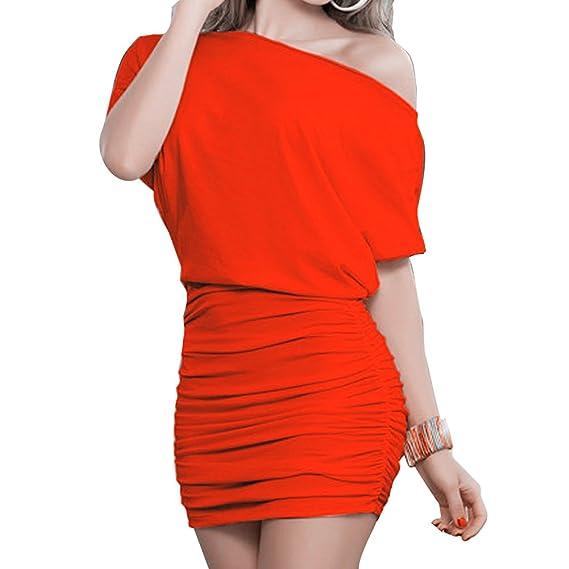 Vestido Mujer Verano Vestido de Oficina Vestidos Cortos Batwing Blusa Vestido Color Sólido Vestido de Coctail Noche Fiesta Hibote: Amazon.es: Ropa y ...
