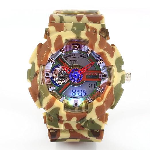 Bistec camuflaje Hombre Sport reloj digital Proyección hora dual moda impermeable reloj de pulsera: Amazon.es: Relojes