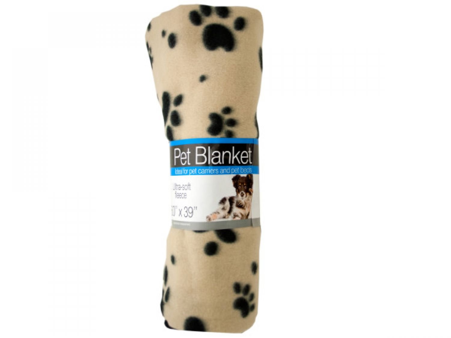 bulk buys Fleece Paw Print Pet Blanket - Set of 24, [Pet Supplies, Pet Furniture]