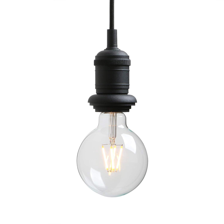 Yosoan 1-Light Mini Vintage Industrial Single Socket Pendant Hanging Light for Kitchen Island Bathroom Dinning Room Living Room Porch Bedroom Hotel Restaurant Bar and Foyer (Black)