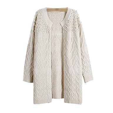 outlet store cac3b 17b56 Moorui Damen Langarm Strickjacke Perle Cardigan Strickweste Lang Outwear  Tops Strickmantel