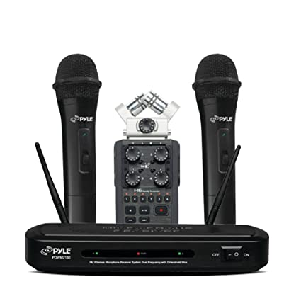 Zoom H6 Six-Track Portable Recorder with Dual Frequency Wireless Mic  Receiver Set with 2 Handheld Dynamic Transmitter Mics