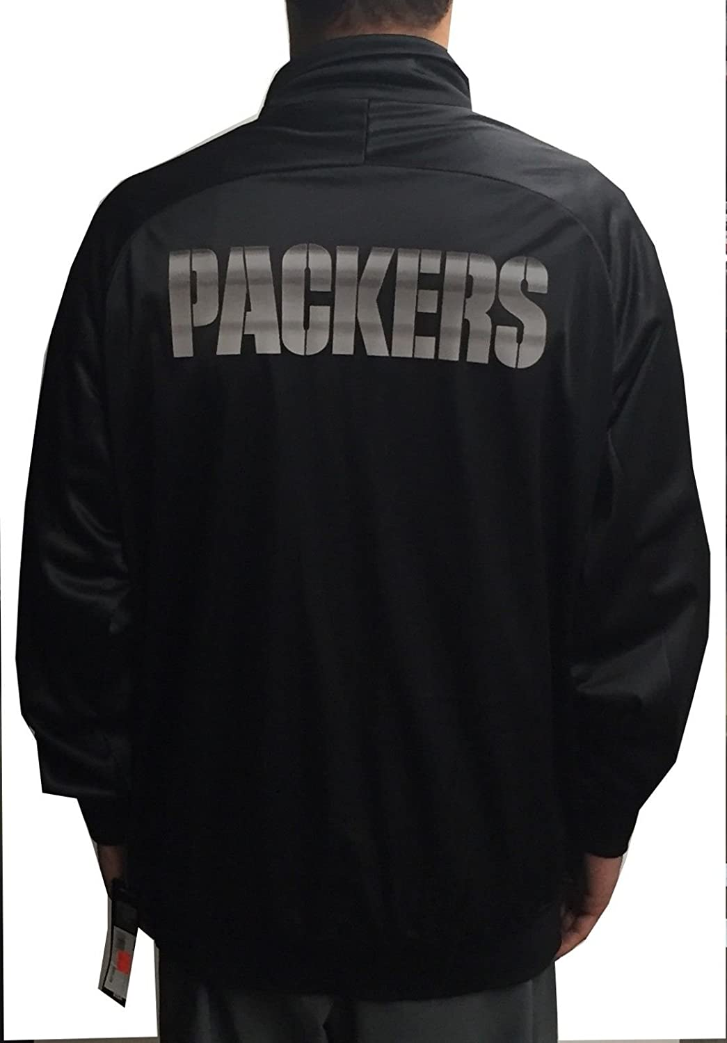 7c62a75b NWT MAJESTIC NFL GREEN BAY PACKERS TRACK JACKET BLACK/SILVER SIZE ...