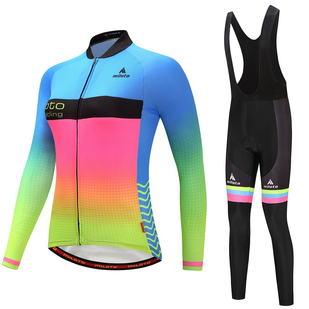 Uriah Women's Cycling Jersey and Black Bib Pants Thermal Fleece Sets Long Sleeve Reflective Miloto