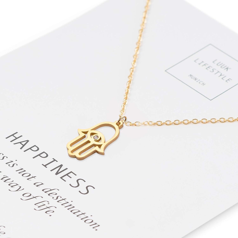 Edelstahl Halskette mit Hamsa Hand Anhänger und Happiness Spruchkarte