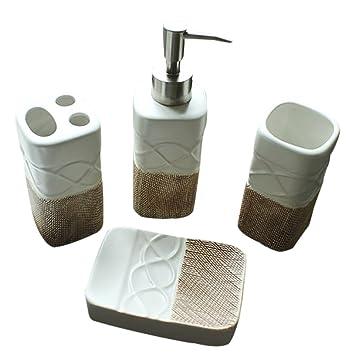 Mystery&Melody Patrón de cerámica en Relieve Conjunto de baño Suministros loción dispensadores de jabón Soporte para