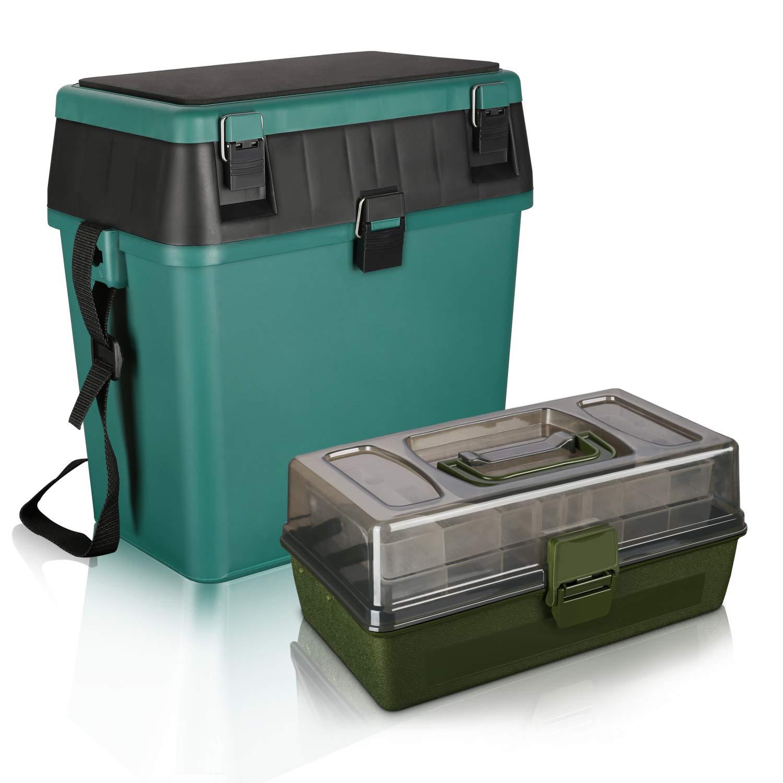 RODEEL Fishing Seat Box & 2 Trays Cantilever Fishing Tackle Box set, Padded  Strap & Seat Pad Tough Box