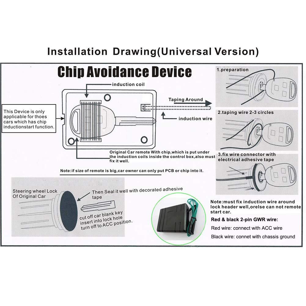 EASYGUARD BM001 Universal Immobilizer Bypass Module for Car Alarm Remote Engine Start /& Push Engine Start Button Usage