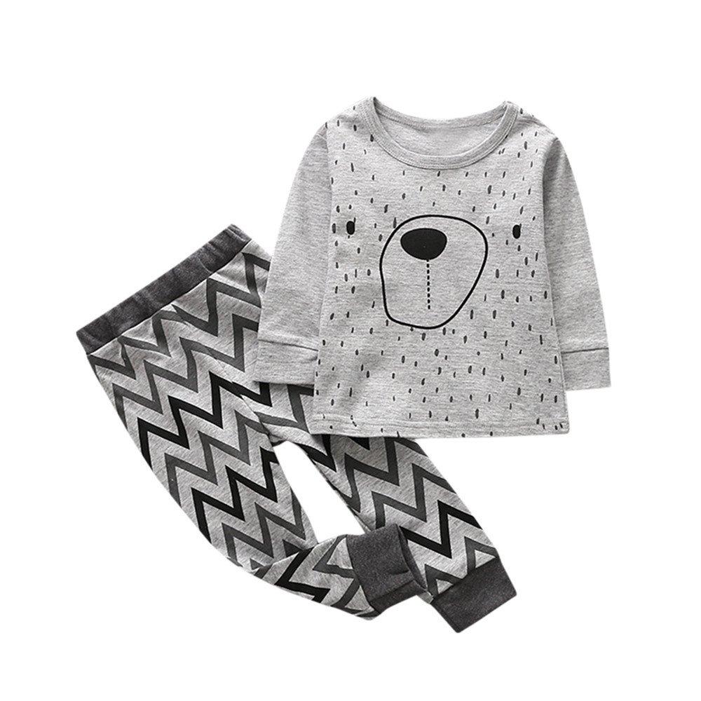 feiXIANG Bebé niñas Pijamas Descuento Sudadera Traje niños y niñas de Dibujos Animados de impresión Animal Camisa + Pantalones Traje de Dos Piezas: ...