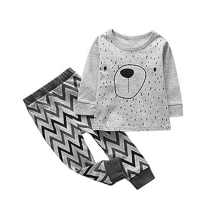 feiXIANG Bebé niñas Pijamas Descuento Sudadera Traje niños y niñas de Dibujos Animados de impresión Animal Camisa + Pantalones Traje de Dos Piezas