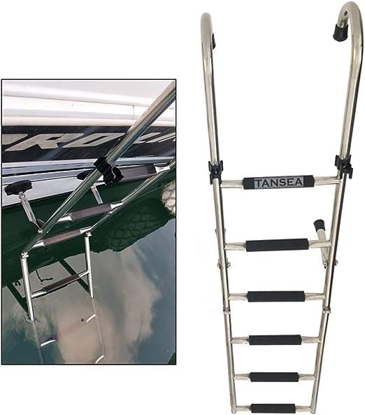 HWF Escaleras para Barcos Plegable Acero Inoxidable Escalera de 6 Pasos para Marine Boat Yacht, Pontoon Dock Ladder Monte Popa con Puños de Goma y Pasos Más Anchos: Amazon.es: Hogar