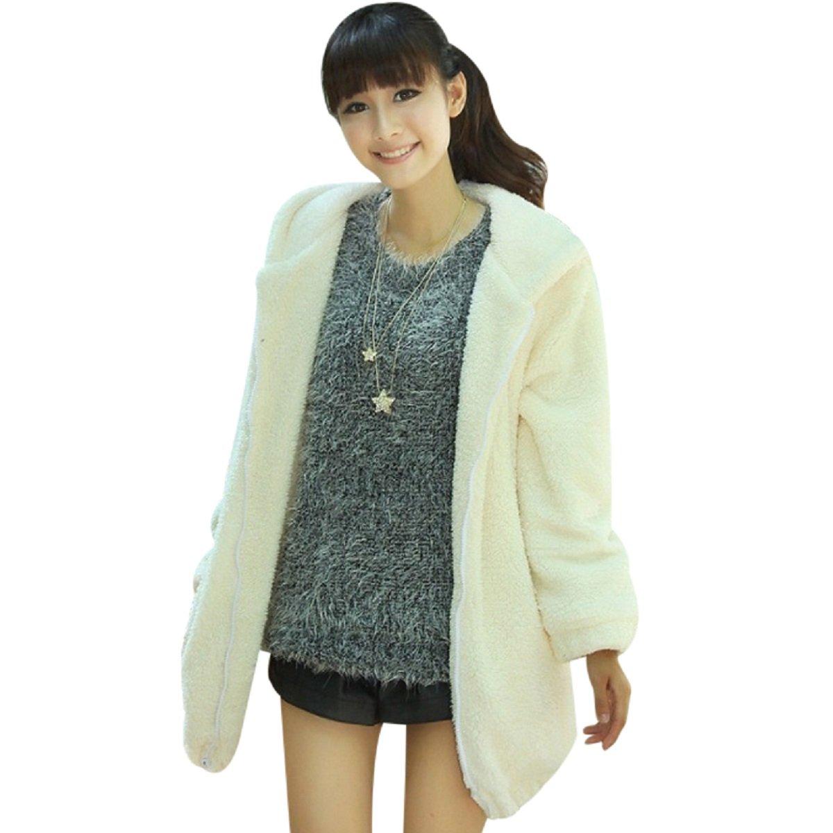 FUNOC Women's Casual Fluffy Outerwear Jacket Warm Fluffy Faux Fur Coat USC*225061102