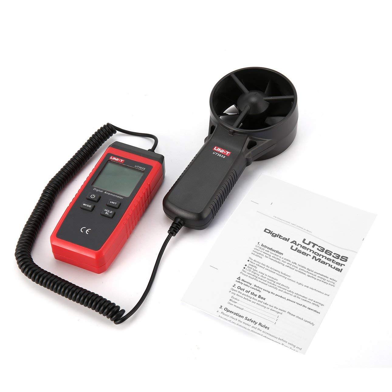 Ballylelly Uni-T UT363S Term/ómetro anem/ómetro Digital Medidor de Velocidad del Viento Medidor de Viento