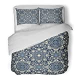 SanChic Duvet Cover Set Colorful Floral Arabesque in Blue and White File Arabian Decorative Bedding Set with Pillow Sham Twin Size